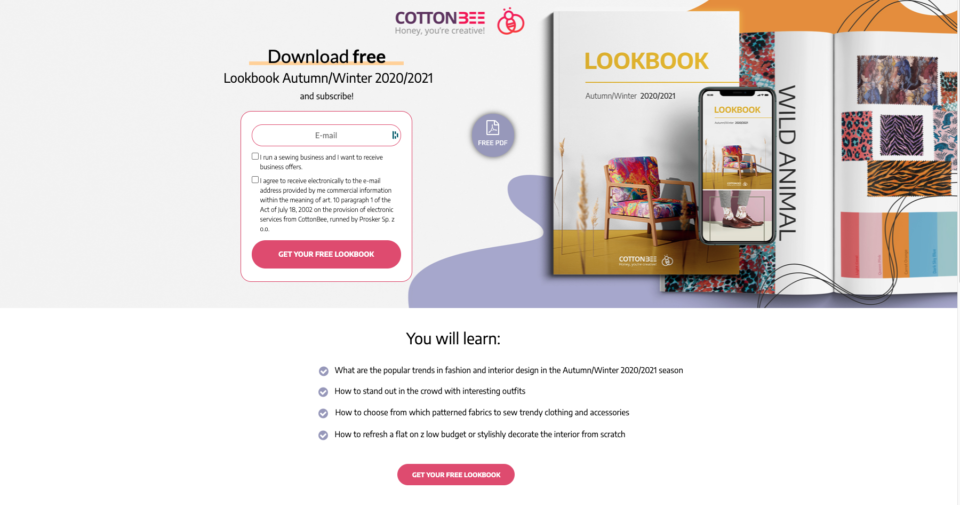 CottonBee landing page EN