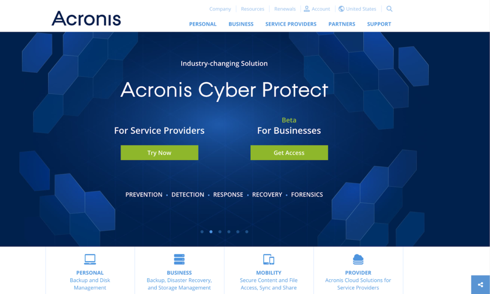 Acronis landing page