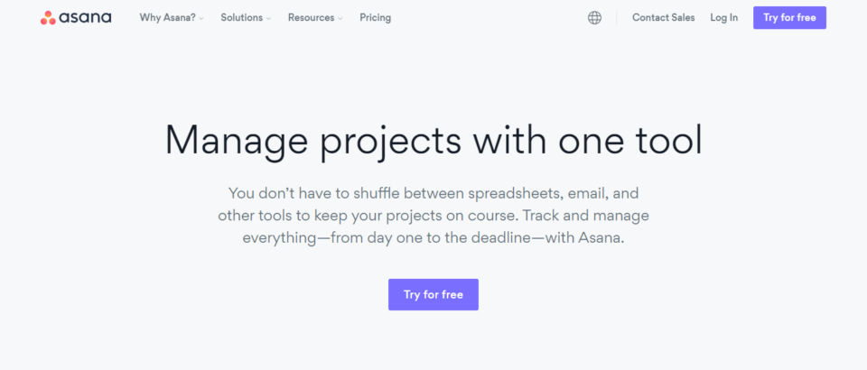 Asana landing page