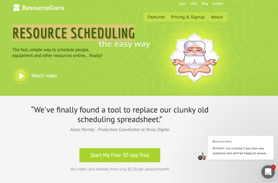 Resource Guru landing page
