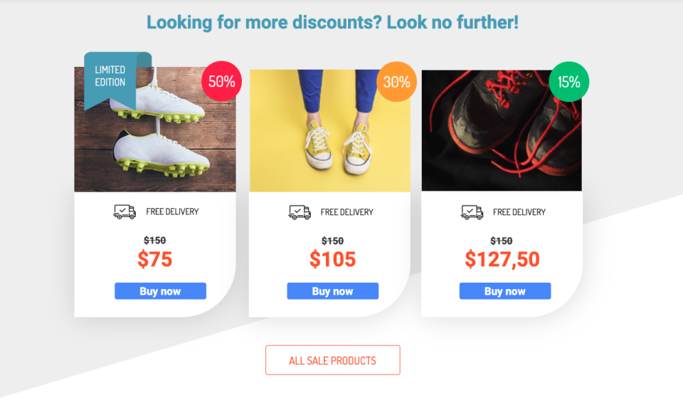 Ecommerce landing page discount