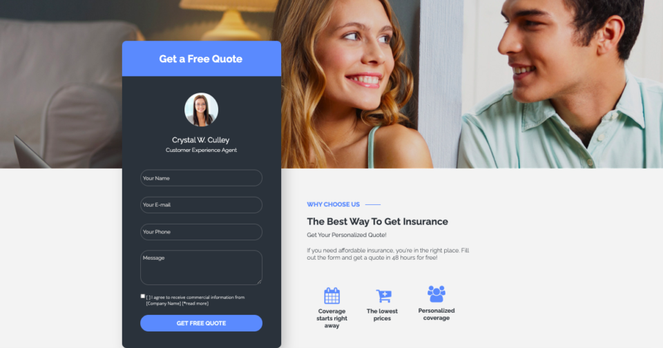 Insurance landing page form