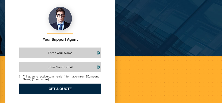 Finance landing page form