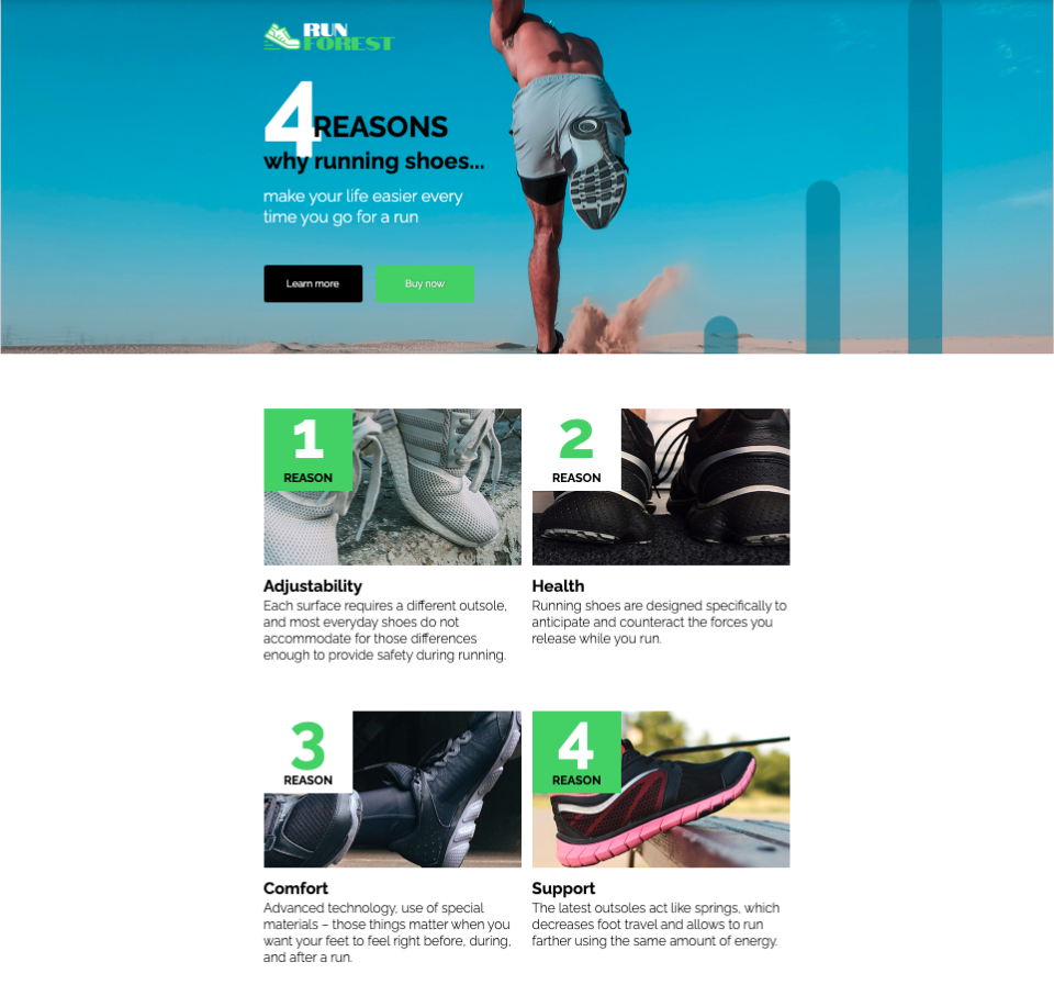 Sports landing page section