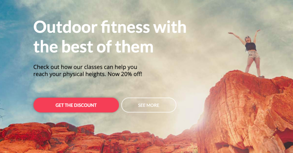 Sports landing page discount