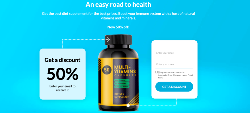 Health landing page discount