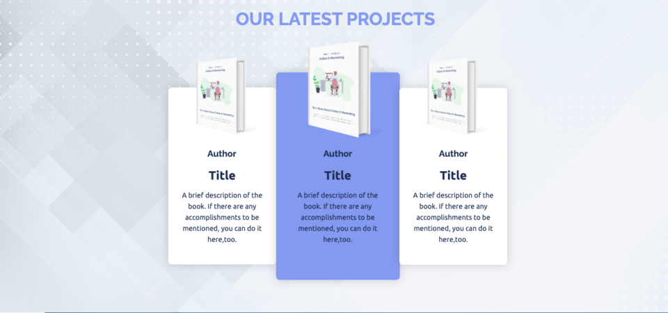 Publishing landing page example