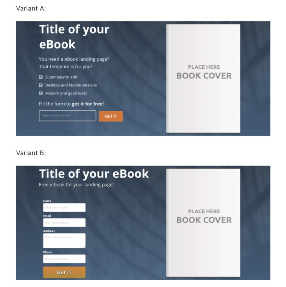 A/B test on landing page