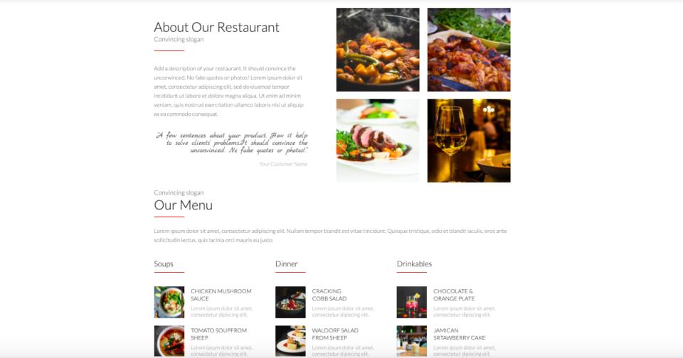 Restaurant landing page gallery