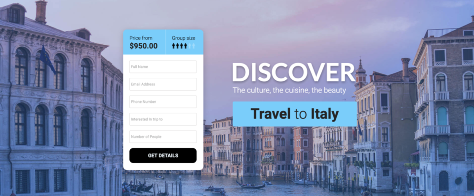 Travel landing page example