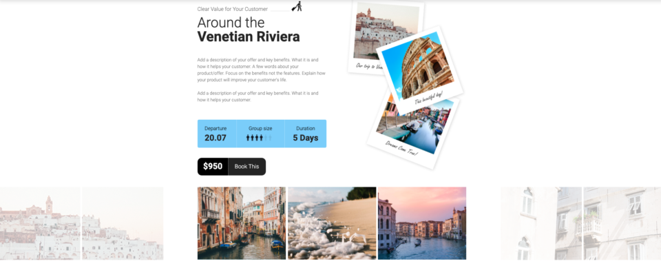 Travel landing page example 4