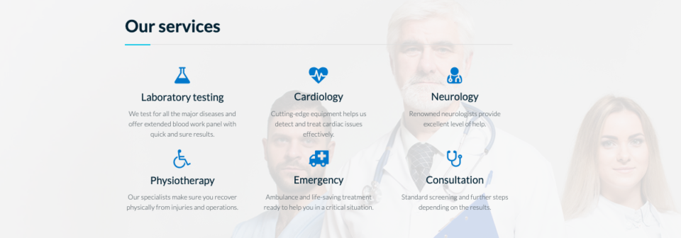 Medical landing page section
