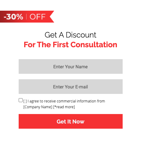 Landing page discount form