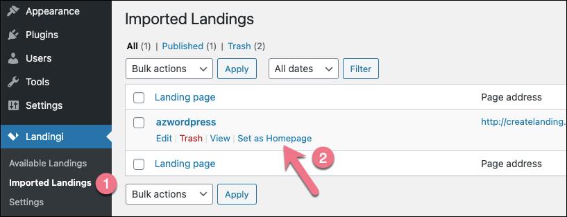 landing page as homepage wordpress