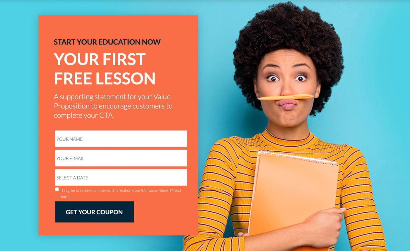 Szablon Education 3 webinar signup - desktop