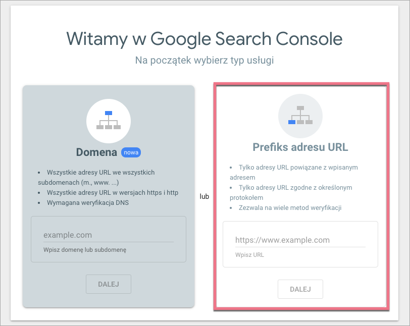 search console prefiks url