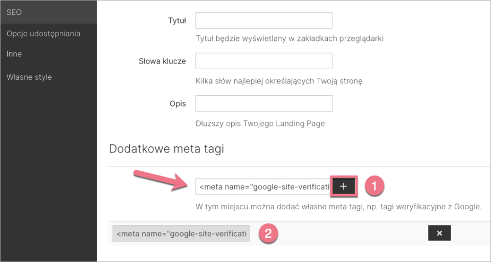 landingi google search console tag