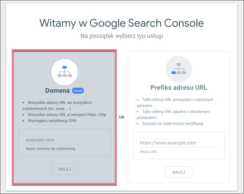 search console domena