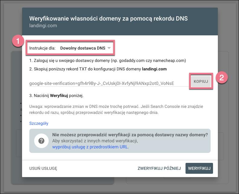 weryfikowanie własności domeny
