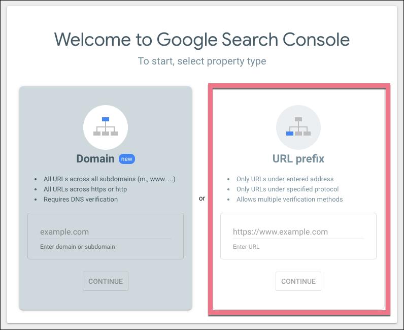 search console url prefix