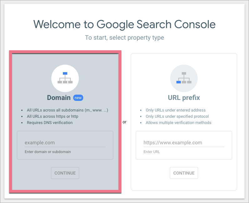 search console domain verification