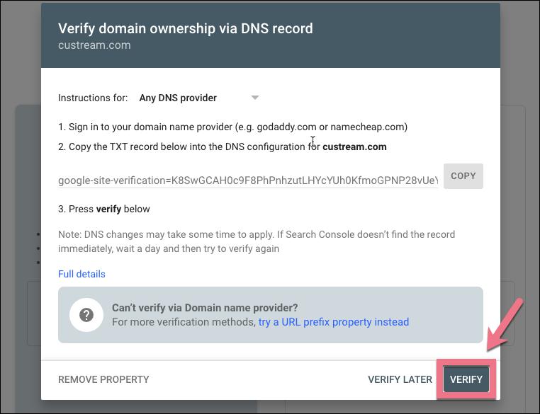 google verify domain ownership
