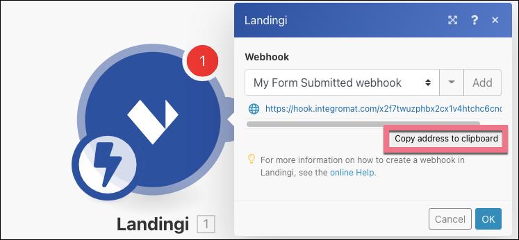 copy landingi integromat webhoook