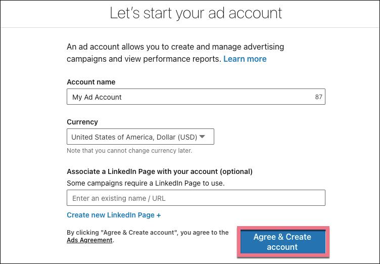 start linkedin ad account