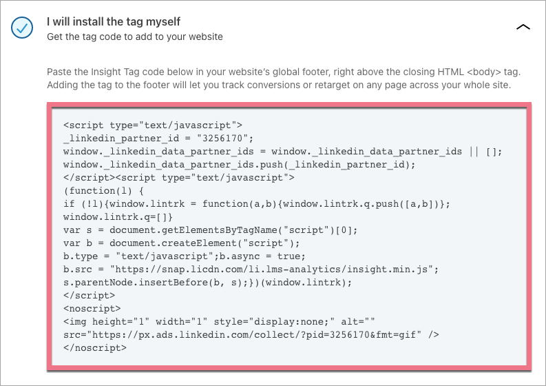 insight tag from linked to landing page