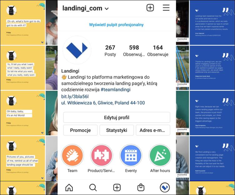 landing page na instagramie